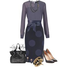 A fashion look from April 2017 featuring long sleeve tops, blue skirts and high heel shoes. Browse and shop related looks. Fashion Moda, Work Fashion, Womens Fashion, Fashion Design, Classic Outfits, Casual Outfits, Cute Outfits, Washington Dc Fashion, Interview Style