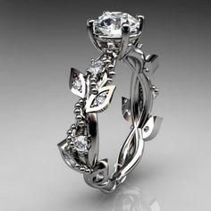 14kt white gold diamond leaf and vine wedding ring,engagement ring...... | AnjaysDesigns - Jewelry on ArtFire