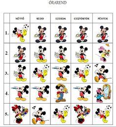 Játékos tanulás és kreativitás: Hupikék törpikés, Mickey egeres órarend Indoor Play, Kids Learning, Back To School, Diy And Crafts, Kindergarten, Projects To Try, Clip Art, Classroom, Teacher