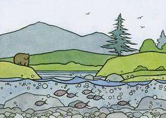 Bear and salmon illustration, david scheirer