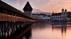 Kapellbrücke, one of several medieval bridges over river Reuss in the Swiss city of Lucerne.