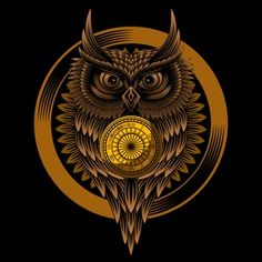 Owl clock T-shirt design vector illustration Retro Background, Background Patterns, Owl Clock, T Shirt Design Vector, Owl Artwork, Owl Vector, Cartoon Birds, Owl Pet, Illustration Vector