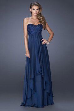 2014 Sweetheart A Line Prom Dress Lace Bodice Empire Waist With Layered Chiffon Skirt