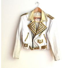 Amazing Vintage 80s Gold and White Leather Jacket with Rhinestones and... ($205) ❤ liked on Polyvore