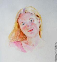Купить портрет девушки аквареью - портрет на заказ, карандашный портрет, потрет любимого на заказ