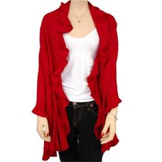Red Knit Oversized Ruffle Edge Poncho Luxury Divas. Save 17 Off!. $29.00
