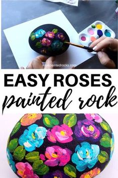 I love this flower painted rock! This painting technique is perfect for painting rocks with flowers that look like roses. This looks surprisingly easy art ideas videos Flower Painted Rock Tutorial Stone Art Painting, Pebble Painting, Pebble Art, Easy Flower Painting, Rock Painting Ideas Easy, Rock Painting Kids, Rock Painting Supplies, Rock Painting Patterns, Rock Painting Designs