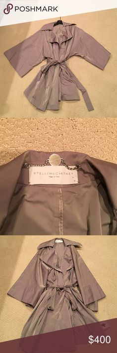 STELLA MCCARTNEY Trench in taupe. Water resistant, size 40. Large, wide sleeves, hits at mid thigh. Stella McCartney Jackets & Coats Trench Coats