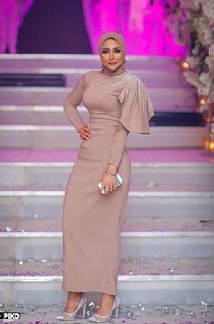 Image may contain: 1 person, standing - Prom Dresses Design Hijab Evening Dress, Hijab Dress Party, Hijab Style Dress, Hijab Wedding Dresses, Evening Dresses, Prom Dresses, Abaya Mode, Mode Hijab, Abaya Fashion