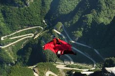 Competitors continue to train for the second Wingsuit Flying World Championship on Tianmen Mountain in Zhangjiajie, China
