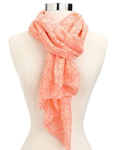 Neon Crackle Print Lightweight Scarf: Charlotte Russe
