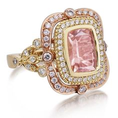 Introducing our NEW DIVINE LOVE Collection Rings, this ring features a Victorian Style Rectangular Cushion Cut Peachy Pink Morganite Diamond Rings, Diamond Jewelry, Gemstone Jewelry, Gold Ring, Morganite Engagement, Morganite Ring, Engagement Ring, Anillo Art Nouveau, Jewelry Accessories