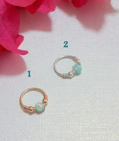 Fire Green Opal Nose Ring -Tiny Hoop Nose Ring - Septum Nose Ring-Opal Cartilage Earring - Helix -Tragus Earring-Gold Filled Nose Ring by HelenCollectionJewel on Etsy