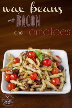 These vibrant Wax Beans with Bacon and Tomatoes bring out the intense flavors of the beans and cherry tomatoes with a bacon sherry vinaigrette.