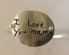 Your Child's Actual Writing Silver Message Bracelet -Tension Bracelet - Made to Order. $140.00, via Etsy.