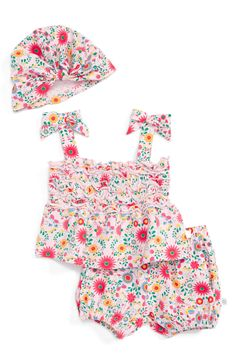 Main Image - Rosie Pope Floral Smocked Shirt, Shorts & Hat Set (Baby Girls)