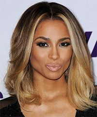 Subtle ombre:  Ciara Hairstyle: Formal Medium Straight Hairstyle Styling Steps