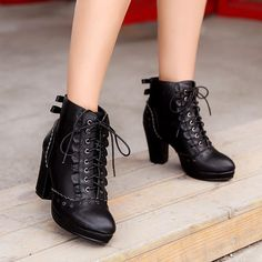 Sweet high heel bowknot Martin boots for off use the discount code: Isabella Lace High Heels, Thick Heels, High Heel Boots, Heeled Boots, Shoe Boots, Ankle Boots, Shoes Heels, Dream Shoes, Crazy Shoes