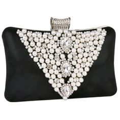 Classic Pearl Beads Brooches Rhinestone Encrusted Latch Hard Case Clutch Baguette Evening Bag Handbag Purse w/2 Chain Straps