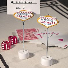 Seat guests at your Las Vegas themed wedding reception or Monte Carlo party with 'Welcome to Las Vegas' place card holders.