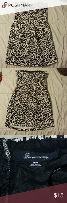 Short cute cheetah dress Short Strapless Cheetah print dress. Size M. Excellent condition! With this dress all eyes will be on you. ☺ Forever 21 Dresses Mini