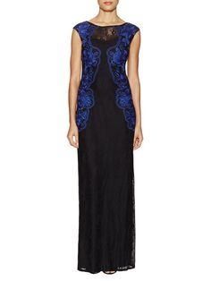 Cap Sleeves Lace Long Dress by Aidan Mattox at Gilt