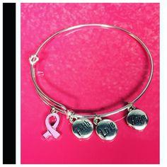 Breast Cancer Awareness Bracelet Silver tone bangle charm bracelet. Brand New. No trades Jewelry Bracelets