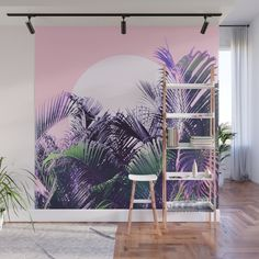 Buy 'ABSTRACT JUNGLE SUNRISE' by Dominique Vari on Wall Mural on Society6 . | . Abstract tropical Jungle with sunrise / sunset, transforming beautiful palm leaves captured in Bali. Mixing graphic & photographic features for a modern, trendy & tropical look in ultra violet, green and purple on nude pink. Bring the good vibes on Home decor, wall mural & more #homedecor #wallart #mural #tropical #pink #ultraviolet #foliage #jungle #palmleaves #dominiquevari #society6