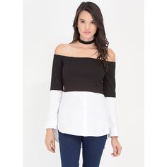 Thin Layers Off-Shoulder Blouse Top ($28) ❤ liked on Polyvore featuring tops, blouses, black, long sleeve shirts, off the shoulder blouse, shirt blouse, button shirt and off the shoulder shirts