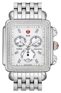 MICHELE 'Deco XL Diamond' Diamond Dial Watch Case, 37mm x 38mm | Nordstrom