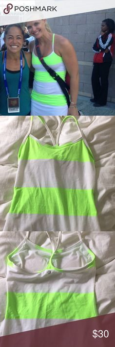 Lululemon Y tank Neon green/yellow and white striped tank. lululemon athletica Tops Tank Tops