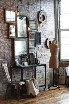 Fantastic Vintage Industrial Mirror Design Ideas For Bathroom 45 Industrial Interior Design, Vintage Industrial Furniture, Industrial Apartment, Industrial Style, Industrial Living, Retro Furniture, Furniture Stores, Furniture Decor, Architecture Design