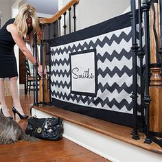 Dog Gate - Finally a beautiful, customizable stair gate for kids and dogs, designed for the bottom of the stairs. Perfect for traveling and homes with banisters. Banister Baby Gate, Baby Gate For Stairs, Diy Baby Gate, Stair Banister, Stair Gate, Banisters, Banister Ideas, Safety Gates For Stairs, Best Baby Gates