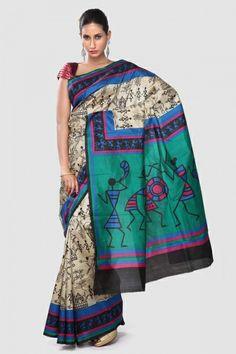 Warli Art Sarees on Pinterest | Silk Sarees, Printed and ...