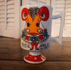 Vintage Smug Mug Royal Crown Arnart Your Zodiac by by Eyes4Colour