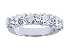 Women's 5 Stone Diamond Ring in GIA Certified Round Diamonds Bar Set - Includes Appraisal / Certificate of Authenticity ( 3.00 Total Carat Weight | FG-VS Quality | Platinum )