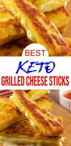 EASY keto grilled cheese recipe for BEST cheesy sticks. Easy 90 microwave keto bread food idea w/ grilled cheese recipe. BEST low carb 90 second bread recipe. Great keto dinner, k Grilled Cheese Sticks, Keto Grilled Cheese, Keto Cheese, Low Carb Keto, Low Carb Recipes, Diet Recipes, Easy Tasty Recipes, Healthy Low Calorie Snacks, Vegetarian
