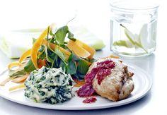 Sitronkylling med rødløk og potet–spinatmos   Iform.nu
