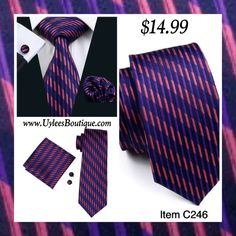 "This is a brand new men's silk tie set. Set includes coordinating tie, handkerchief and cuff link.    Tie length is 61"" from end to end, and 3.25"" width at the widest part of the tie.     **Please Note** This item requires three (3) weeks to ship.  Please take the shipping time into consideration prior to placing your order.  Thank you ~ 📦 
