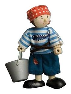 """Budkins Jacob The Pirate by Budkins. $10.99. Ahoy Matey Jacob the Pirate is here. He is about 4"""" tall. He carries a wooden bucket and wears a red bandana. He wears a seaman's striped shirt and ragged pants. Part of the Pirate collection. From the Manufacturer                Budkins - friendly, bendy, poseable characters. Budkins have wooden heads and feet and are dressed in real fabric clothing. Their hands and bodies are durable plastic, with most accessories made of ..."""