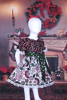 10a663d68cb9 Cotton Boutique Peasant Dress Christmas Holiday Burgundy Green Infant Baby  6 12 18 24 month Toddler