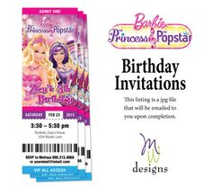 Barbie Princess and the Popstar PARTY PACKAGE 3 by mwarnerdesigns