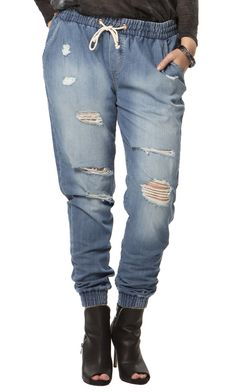 Old Flame Distressed Joggers | 17 Sundays | Women's Plus Size Denim | Hey Gorgeous!