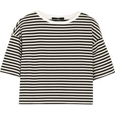 Tibi Ren cropped striped cotton-blend jersey top (93,540 KRW) ❤ liked on Polyvore featuring tops, shirts, t-shirts, crop tops, black, cut-out crop tops, boxy tops, tibi shirt, boxy shirt and stripe crop top