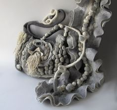 Felted handbag and scarf- grey, via Flickr. #felted #scarf #felting #shibori #felt #handbag #ruffle #collar