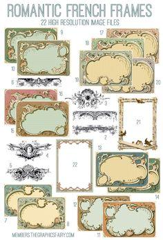 Romantic French Frames Kit! TGF Premium - The Graphics Fairy