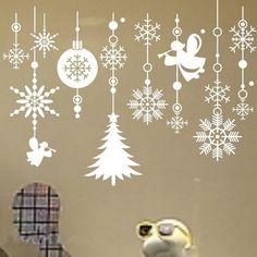 Christmas Snowflake String Vinyl Wall Stickers / decals Shop Window XMAS Decor