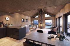 Prosjektert nøkkelferdig hytte på Grotli   FINN.no Real Estate, Living Room, Kitchen, Table, Furniture, Home Decor, House Interiors, Cottages, Woods