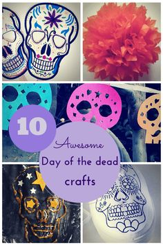 10 awesome Day of the Dead crafts for kids (skull masks, shoes, craft ideas, paper marigolds, garlands and a matchbox shrine) ~Hodge Podge Craft~ Holidays Halloween, Halloween Crafts, Halloween 2018, Holiday Crafts, Fun Crafts, Halloween Decorations, Crafts For Kids, Halloween Party, Halloween Cubicle