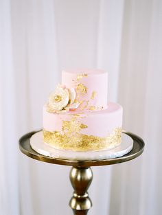 pink and gold wedding cakes - photo by Live View Studios http://ruffledblog.com/delicate-modern-wedding-inspiration